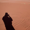 My own shadow on the sand dune, Wadi Rum, Jordan.