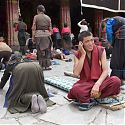 Monk on mobile phone, Lhasa, Tibet.