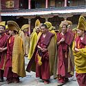 Monks in ceremonial robes, Tashilunpo Monastery, Tibet.