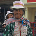 Peruvian woman with child, Chivay, Peru.