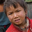 Tibetan child, Milaraba Buddhist Cave, Tibet.