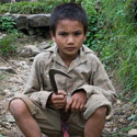 Nepalese child, Village by the Bhote Kosi River, Nepal.