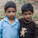 Nepalese children, Village by the Bhote Kosi River, Nepal.