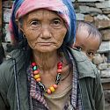 Nepalese woman & child, Village by the Bhote Kosi River, Nepal.