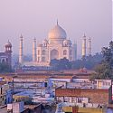 Taj Mahal, view from the rooftops, Agra, India.