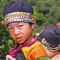 Girl & child from the Aka (Eko) Tribe, Nam Mat, Northern Laos.